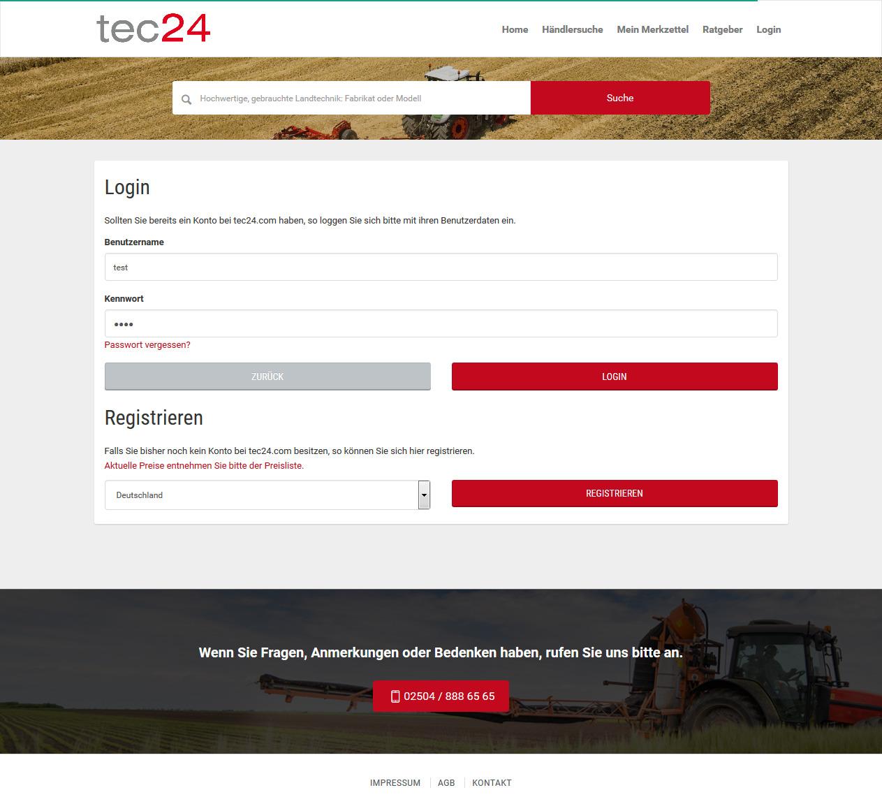 tec24 Kontakteingabe